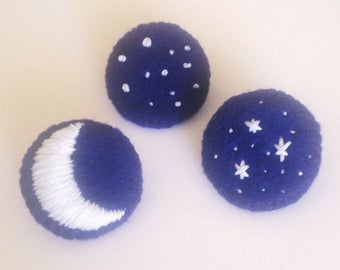 Set of 3 Glow-in-the-Dark Moon and Stars Pins