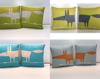 """2 X Scion Mr.Fox double sided cushion covers 4 colourways.You Will Recieve 2 12"""" covers."""