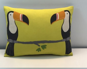 """Scion Terry Toucan double sided Cushion covers. yellow colourway 16 x 12"""""""