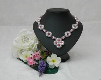Diana, Swarovski Pearl Necklace, Swarovski Crystal Necklace, Couture Wedding Jewelry, Couture Bridal Necklace, Gypsy Wedding Necklace