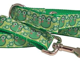 Happy Frog Face Medium Martingale Collar, Frog Face Leash - SUMMER SALE