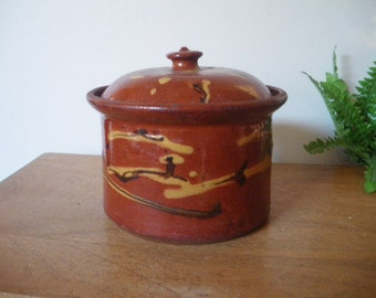 Gorgeous French antique terrine pot / Rustic kitchen decor and storage/  Antique french pottery/ confit pot /1900's