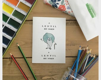LENTIL // vegetable card, birthday card, funny birthday card, old birthday card, you are old, card for dad, funny card for old person, punny