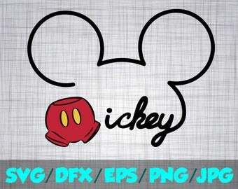 Mickey SVG Disney Iron On Decal Cutting File / Clipart in Svg, Eps Dxf Png & Jpeg for Cricut and Silhouette signature Mouse Disneyland World