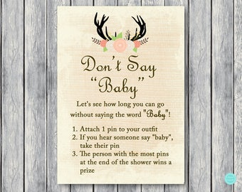 Don't say BABY game, Don't Say a word BABY Baby Shower, Clothespin game, Rustic Baby Shower Games Printable, Country Baby Shower Games TLC21