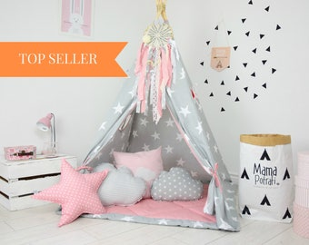Play Tent, Kids teepee, Kids teepee play tent, tipi, teepee tent, kids teepee tent, teepee for kids- My Imagination[Set with Pillows]