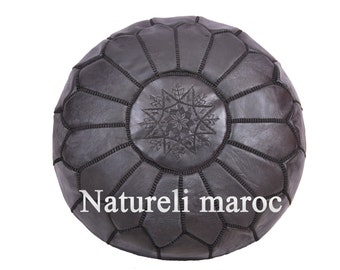 Embroidered ottoman pouffe in Genuine Black Leather