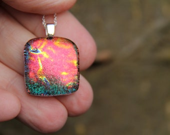 Red and green dichroic pendant ,  dichroic glass necklace, red fused glass necklace, fused glass pendant, multi-coloured dichroic