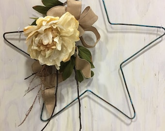 Star wall hanging or wreath from oxidized copper spring summer burlap 4th of July
