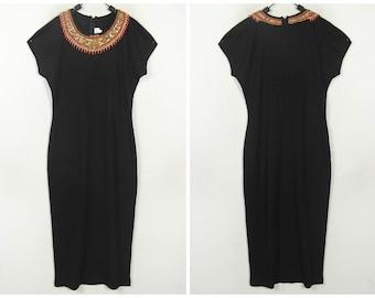 1980s Vintage Black wool dress