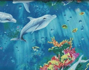 Timeless Treasures Quilting Cotton Fabric Aqua Dolphin 127598 - 1/2 Yard