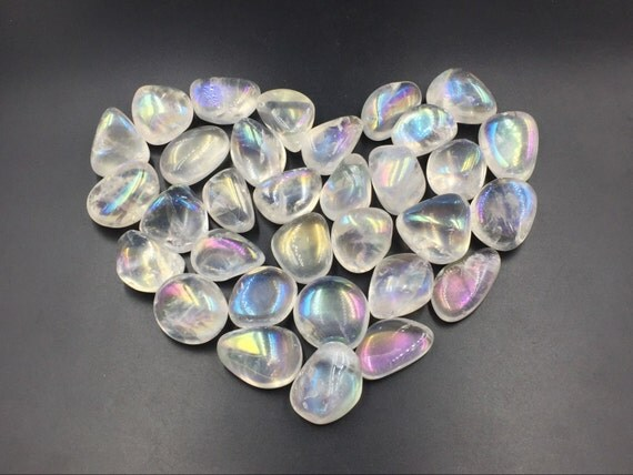 Rainbow Quartz Stone : Angel aura quartz crystal tumbled stone rainbow