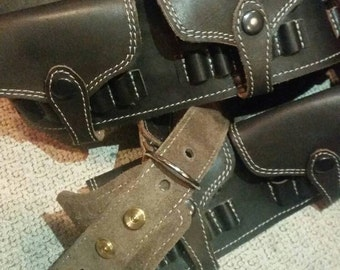 Shoulder holsters bandolier .303 British, Flap over the cartridges, Leather Bandolier with loop extension, custom, genuine leather,