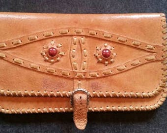 Vintage Leather Clutch, 70s Orange Leather Handbag, Old Vintage Woman Purse, Tooled Leather Brass Clutch, Checkbook Holder