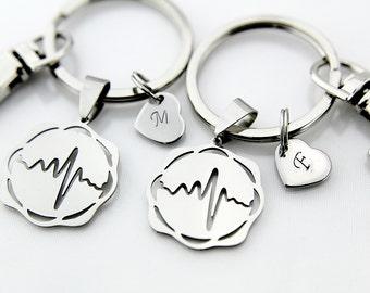 Best Friends Silver Heartbeat Charm Keychain, Heartbeat Charm, Electrocardiogram charm Personalized Keychain, Initial Charm, BFF Keychain