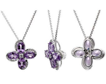 14K White Gold Oval Purple Amethyst & Diamond Floral Flower Pendant Necklace