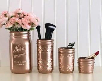 Painted Mason Jars, Makeup Organizer, Makeup Brush Holder, Rose Gold Mason Jars, Vanity Organizer, Vanity Accessories, Bathroom Decor, Vase