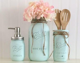 Mason Jar Kitchen Accessory Set, Aqua Mason Jars, Aqua Utensil Canister, Distressed Mason Jar, Mason Jar Vase, Painted Mason Jars, Vase