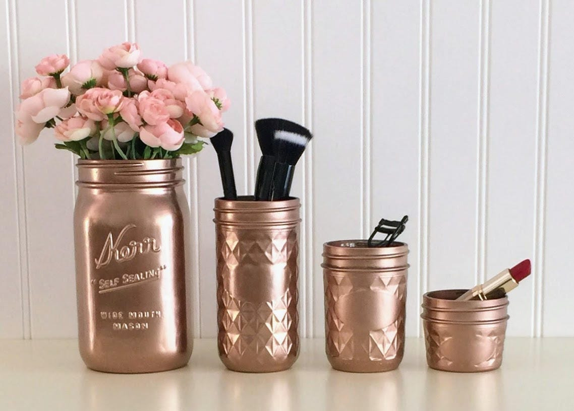 Mason Jar Bathroom Accessories Mason Jar Organizer Etsy