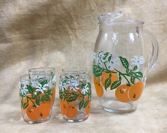 Vintage Juice Set Orange Blossom Pitcher Glasses Brunch Set Mimosa