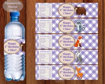 Water Bottle Labels Lumberjack Birthday Milk Wilderness Buffalo Purple Plaid Lumber Jack bear deer fox wolf baby shower WLLJ4