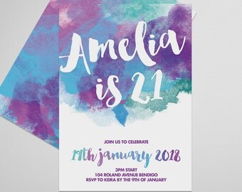 21st Birthday Invitation - Watercolor Blue and Purple, Printable invitation, Girls, Boys Adults Birthday Invitation, Watercolor Invitation
