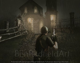 Resident Evil 4 Digital Art Painting Leon Kennedy Gamecube Playstation Wii PC Video Games Gaming Survival Horror Zombies Ganados Creepy