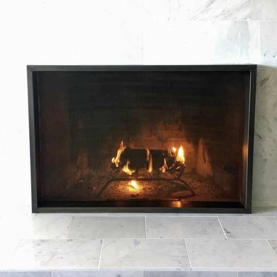 Items similar to p1 fireplace screen black patina steel firescreen rustic modern - Find best contemporary fireplace screen ...