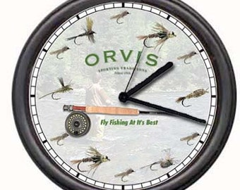 Orvis Fish Fly Fishing Rod Authorized Dealer Fisherman Tools Reel Pole Retro Vintage Sales Sign Wall Clock