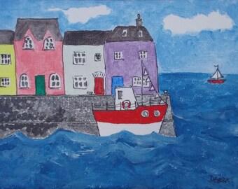 Cornish Harbour mini canvas