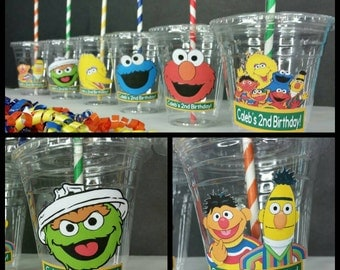12 Personalized Sesame Street Inspired Party Cups with Striped Straws and Lids!, Elmo Plastic Party Cups