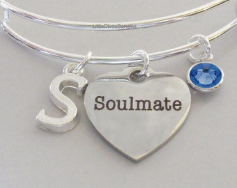 Soulmate  BANGLE - VALENTINE Day  Adjustable Bangle W/ Swarovski Birthstone Drop / Initial - Gift For Her Under 20 USA V1