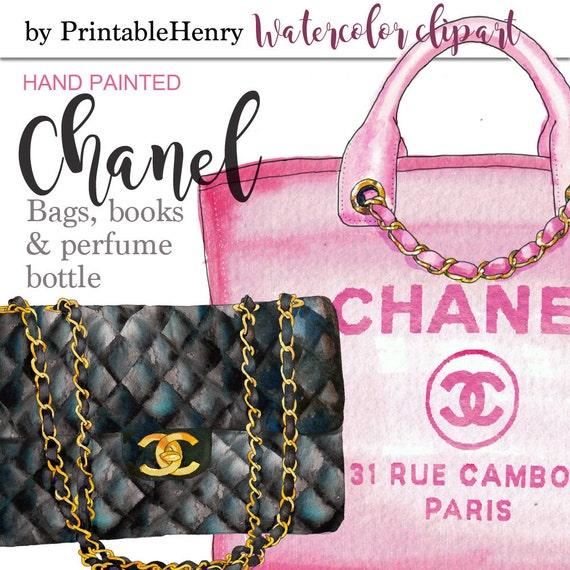 Coco Chanel Handbag Clipart Chanel Clipart Planner Girl Glam Clipart Watercolor Chanel Perfume