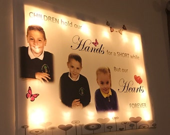 personalised canvas with led lights