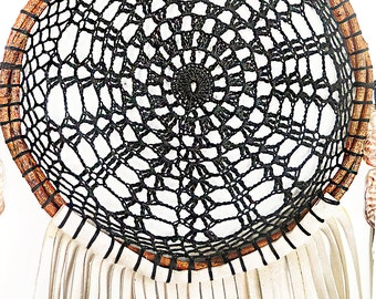Hand Made Woven Boho Black/Creme  |  Feathers, Suede & Seashell  Dream Catcher-03
