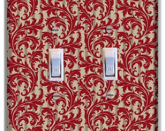 Damask Red Light Switch Plate Cover Girls Nursery Decor Pattern Print