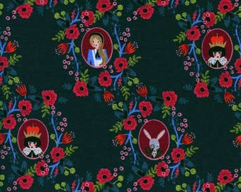 Cameos Green - WONDERLAND - Rifle Paper Co. for Cotton and Steel Fabrics - 8014-01