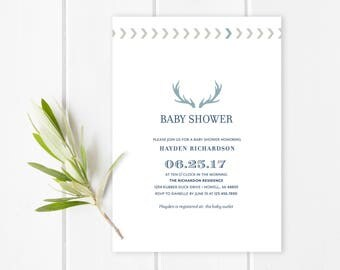 """Modern antler baby shower invitation 