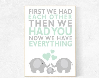 First We Had Each Other, mint nursery decor, elephant Nursery, Nursery Art, Nursery Decor, gender neutral nursery, nursery prints