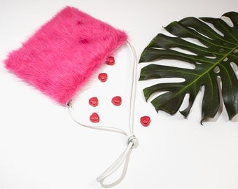 Valentine pink faux fur purse+white recycled leather