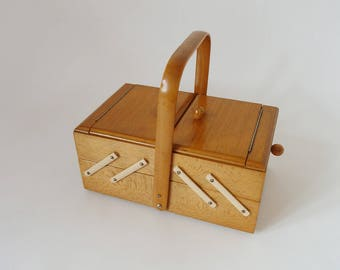 old wooden sewing box, vintage sewing box, Schneider sewing box, sewing box wooden, swing box
