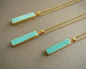 Turquoise Pendant Necklace, Blue Necklace, Long Necklace, Gemstone Necklace, Girlfriend gift, Stone Pendant, Howlite Necklace for women