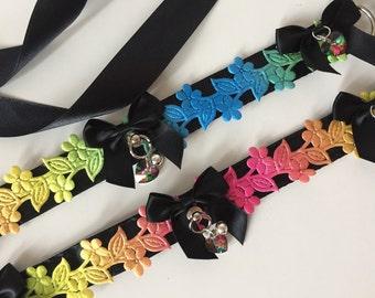 Rainbow Flower Kitten Play Collar