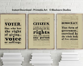 Black's Law Print Set - Voter - Citizen - Democracy - Special Occasion - Holiday Gift Ideas - 4th of July - Lawyer Gift - Gifts for Lawyers
