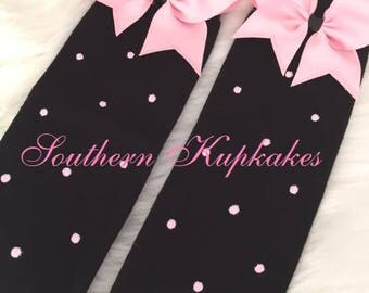 BLACK with PINK Polka Dots Black Legwarmers Leg Warmers Arm With Pink Bows Pageant Boutique M2M Match PARIS cafe