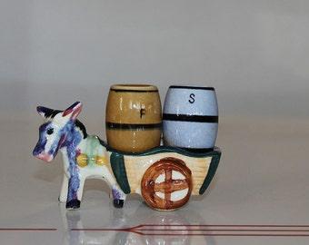 Vintage Donkey/Mule with Salt and Pepper Barrels Japan