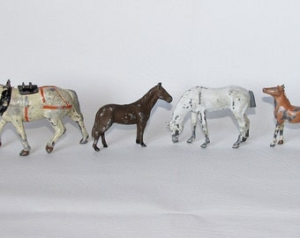 Four Cast Metal Horses, Antique Toy Horse Figurine, English Riding, Equestrian, Pot Metal