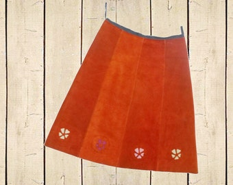 Real Suede Mini Skirt 70s Vintage Retro Floral Cut Outs Rust Tan 1970s Metal Zip UK 8