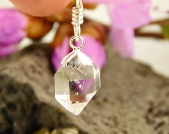 A GRADE Herkimer Diamond Quartz Crystal Pendant with Sterling silver cap - Herkimer Diamond Jewelry - Herkimer Jewelry - natural crystal