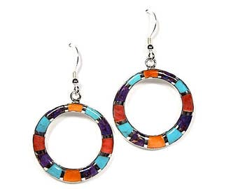 Genuine Multicolor Inlay 925 Sterling Silver Southwestern Earrings